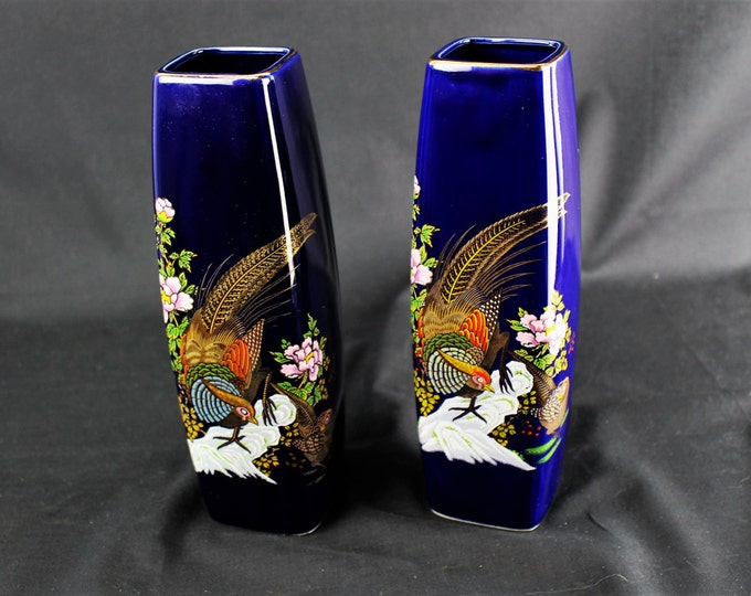 Vintage-Japanese Ceramic Interpur-Square Cobalt Blue Vases With Cock Pheasant and Floral Motif