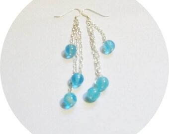 Earrings Blue, Glow in the Dark Earrings, Aqua Earrings, Blue Dangle Earrings, Blue Earrings, Unique Earrings, Funky Earrings