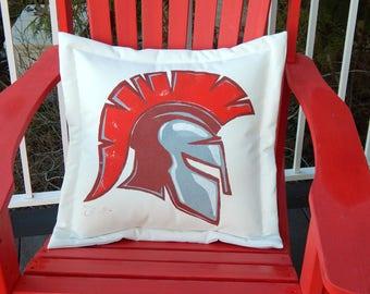 """Outdoor pillow SPARTAN warrior soldier football soccer Stanwood WA helmet indoor outdoor hand painted 20"""" (50cm)  Crabby Chris™ Original"""