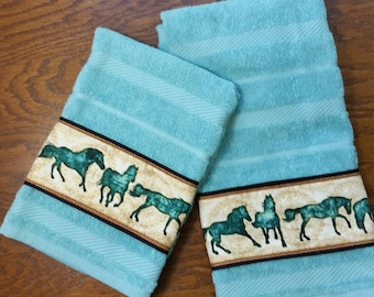 Running Horse Kitchen Dish Towels - Set of 2 - Turquoise