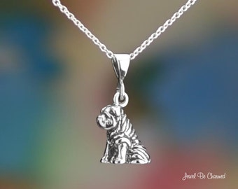 "Sitting Sterling Silver Shar-Pei Necklace 16-24"" or Pendant Only .925"