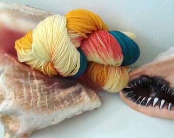 100% Merino July Phat Fiber Seaside Cottage Sample Caribbean Conch Sock Yarn 2 PLY