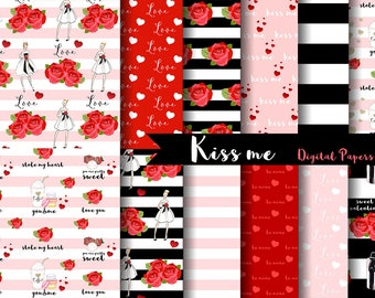 Kiss Me Digital Scrapbook Papers - Valentines Day, Romantic, Love