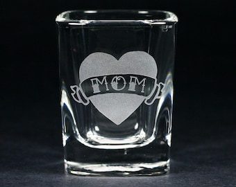 Tattoo Heart MOM, DAD or LOVE Shot Glass