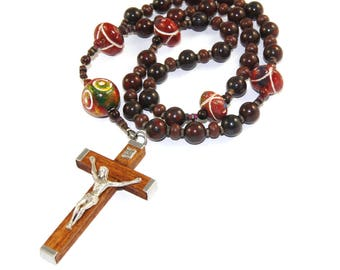 Anglican Rosary, Jasper Wood & Clay, Handmade for Men or Women - Christian Prayer Beads