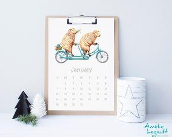 2018 wall Calendar, Animals on wheels, animals on bike, animals on bicycle, cycling animals, in English