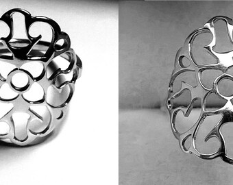 Silver lace ring