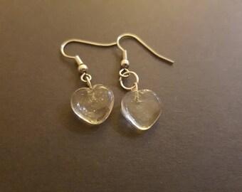Clear glass heart earrings