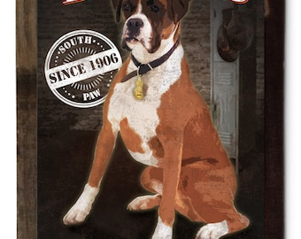 Boxer, Sting Like a Boxer, Dog Metal Sign, Pet Lovers,  Wood Frame Option.