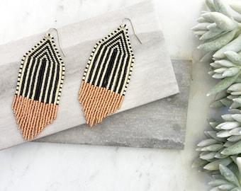 T H E . B O W I E // Seed Beaded Fringe Earrings, Tassel Earrings, Rose Gold STATEMENT Earrings