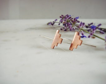 Southwest Drop Earrings in Copper or Brass and Sterling Silver Spring Collection 2017