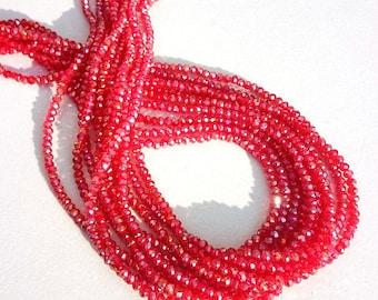 """3-3.5mm Garnet Coated Beads, Coated Garnet Glass Beads, High Coated Hydro Beads, Garnet, Faceted Beads,  13""""Long Strand For Making Jewelry"""