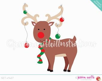 Instant Download Cute Christmas Ornament Reindeer Digital Clipart, Reindeer Clip art, Christmas Reindeer Illustration, #1427