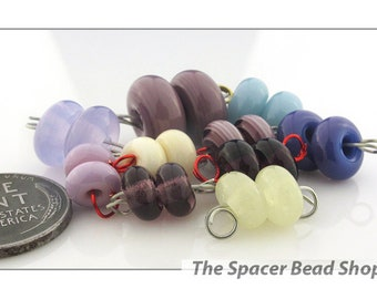 ANEMONE Purple Yellow Bead PAIRS Lampwork Spacers Glass Handmade - The Spacer Bead Shop