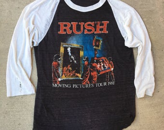 Vintage 80's 1981 Rush Moving Parts Tour T-shirt// thrashed distressed threadbare raglan
