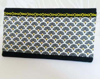 Black cotton checkbook cover, printed black/white/yellow, embroidery, women gift, Christmas 2017 gift, wallet, checkbook case
