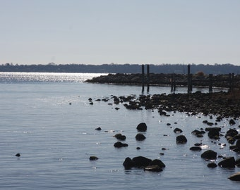 Seashore, Inlet, Water, Shoreline, Blue Sky, Black Rocks, Nature, Fine Art Print, Sun's Reflection, Serene, Peaceful, Wall Hanging, Office