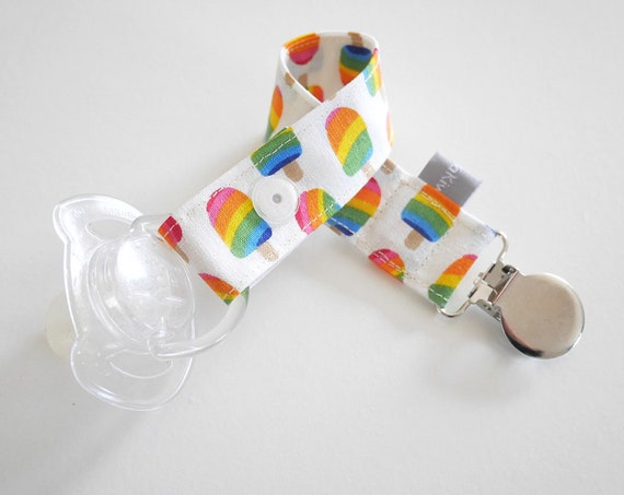 Pacifier clip - snap - enamel clip - popsicles - rainbow - summer - multicolor - useful - baby shower - baby gift - dummy