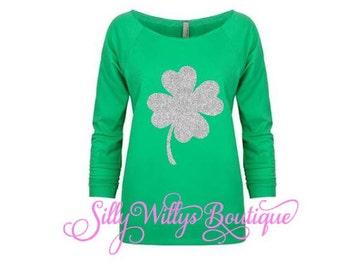 St. Patrick's Day shirt, Four leaf clover shirt, Saint Patrick's Day shirt, 4 leaf clover shirt, Lucky clover shirt, Clover shirt, Raw edge