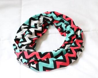 Aqua/Coral/White Chevron Infinity Scarves, Mommy & Me Scarves, Christmas Gift,