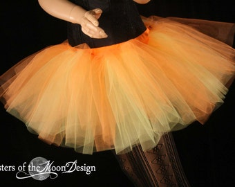 two tone tutu adult skirt dance orange yellow extra poofy petticoat roller derby rave sunshine flame -You Choose Size --Sisters of the Moon