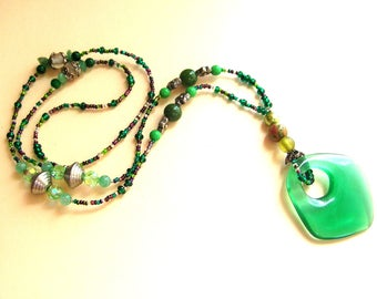 Green Bohemian Necklace - Green Beads - Boho Jewelry