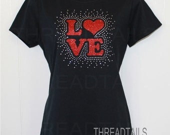 Ladies Sparkly Tee | LOVE t-shirt | Size Medium Black Shirt | Gift Idea | Red Glitter | Rhinestones| Sparkly Embellished Top