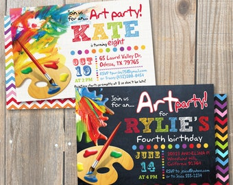 Birthday Painting Party Invitation. Art Party. Rainbow colors. DIY card. Digital Printable card.
