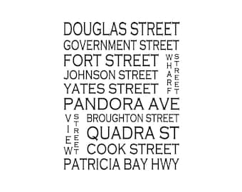 Victoria B.C - Love This Place Street Name Art Print on Paper - Customize With Your Street - Home Decor - Vancouver Island TheJitterbugShop