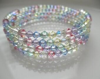 Pastel Rainbow Memory Wire Bracelet, Swarovski Crystal Memory Wire Bracelet, Spring Bracelet, Pastel Crystal Bracelet, Easter Bracelet