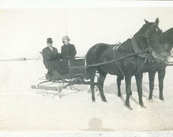 1918 Couple Ride Sleigh Horse in Snow