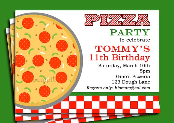 Pizza party invitation printable or printed with free shipping stopboris Image collections