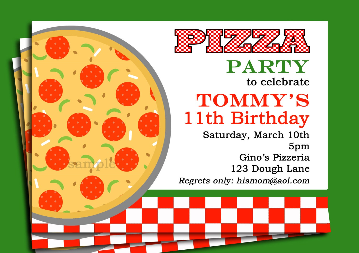 Just Like Home Design Your Own Pizza Pizza Party Invitation Printable Or Printed With Free Shipping