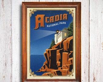 Acadia poster, Acadia National Park print, Maine Poster, Cliff poster, Acadia print, Maine gift poster, Maine train, Acadia light House