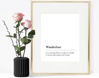 Wanderlust definition, Printable Quote, Printable Wall Art