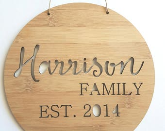 Personalised Family Name Wooden Wall Hanging 19.5cm-wall sign-custom name-wedding-new parents-lasercut-plaque-first born-children-kids
