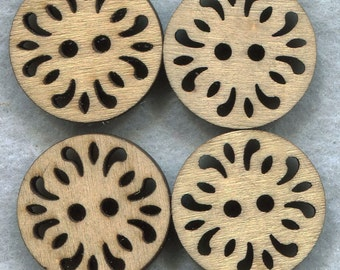 Lacy Buttons Cut Out Filigree Wooden Buttons 23mm (1 inch) Set of 8 /BT252