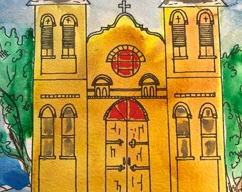 Loretto Chapel Santa Fe NM Watercolor painting by artist Sandy Short  handpaintedgourds.com