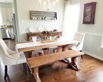 Modern Rustic Farmhouse Table, Custom Farm Table, Rustic Wooden Kitchen Table, Large Farmhouse Table, Natural Wood Dining Room Table