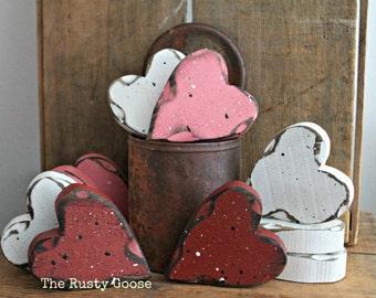 Valentines Day, Heart Decor, Valentine Decor, Primitive Valentine, Primitive Heart, Wedding Decor, Love Hearts, Rustic Heart, SET OF 3