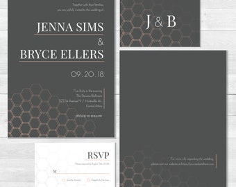 Printable Contemporary Hexagon Industrial Wedding Invitation and RSVP