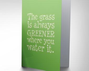 Grass Always Greener Card -  Positive Blank Greetings Birthday Card Cp061