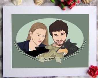 Custom Couple Portrait, Couple Portrait Illustration, Custom Couple Art, Custom Family Portrait, Family Portrait, Digital Portrait