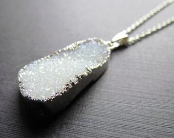 Ab Druzy Necklace -Sparkly Rainbow Druzy Pendant - Agate Gemstone Jewelry -