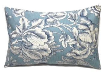 Decorative Lumbar Pillow Cover Light Blue Navy Blue White Floral Design Same Fabric Front/Back Toss Throw Accent 12x18 inch  x