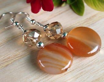 Orange Agate Crystal Earrings, Gemstone Beaded Elegant Earrings, Healing Jewelry, Shiny Glass and Crystals, Silver Dangles, Bridesmaid gift