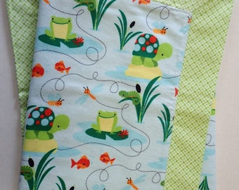 Turtle & Frog Pond Blue Green 100% Cotton Flannel Welcome Baby Blanket