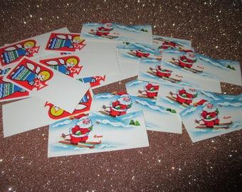 Vintage Christmas Gift Tags,  Angel Gift Tags, Santa Hang Tag, Gift Wrapping Supply, 1950's Christmas, 23 tags for presents,