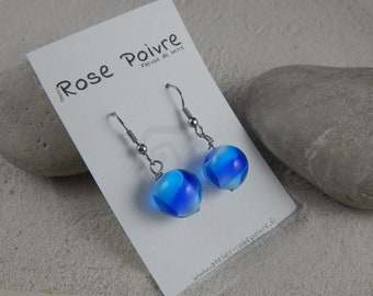 Earrings * transparent *-simple blue pattern