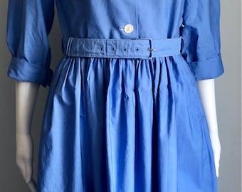 1950's Sky Blue Cotton Dress